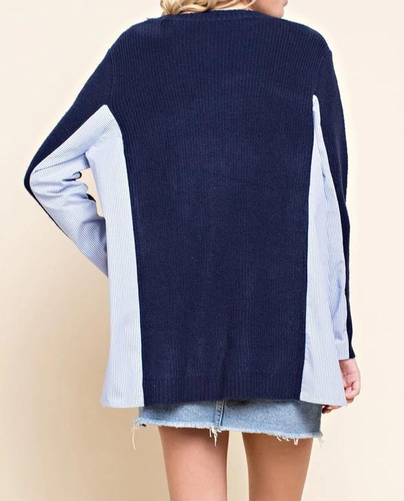 Mixed Material Knit Sweater