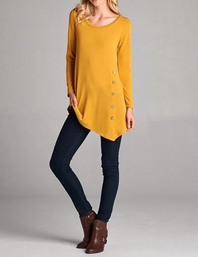 Asymmetrical Tunic With Button Detail
