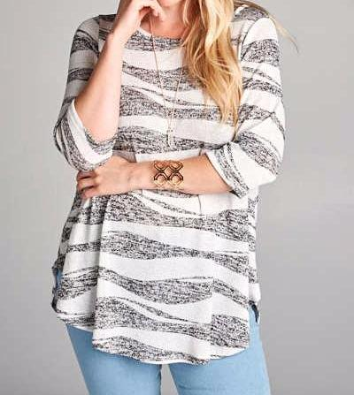 Black & White Striped Tunic - Plus