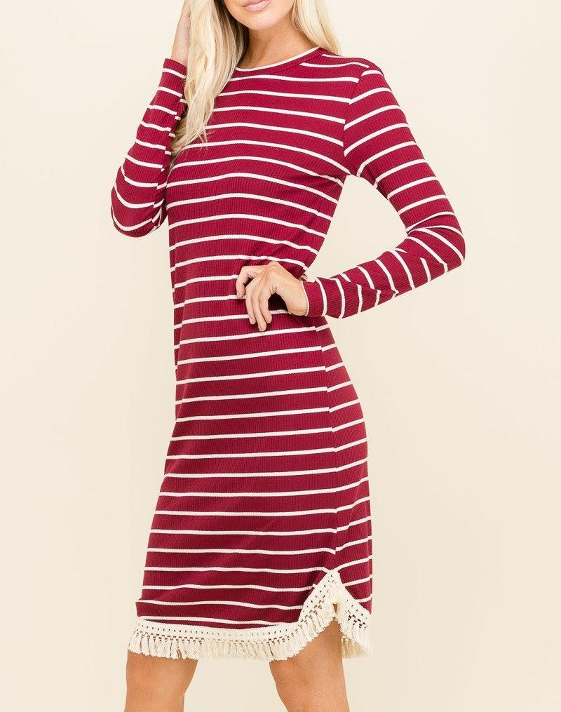 Burgundy Striped Fringe Dress