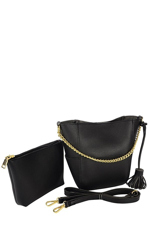2-Piece Black Multi Strap Handbag