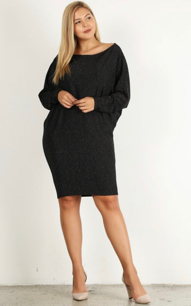 Bria Bella & Co - Black Shimmer Dolman Dress