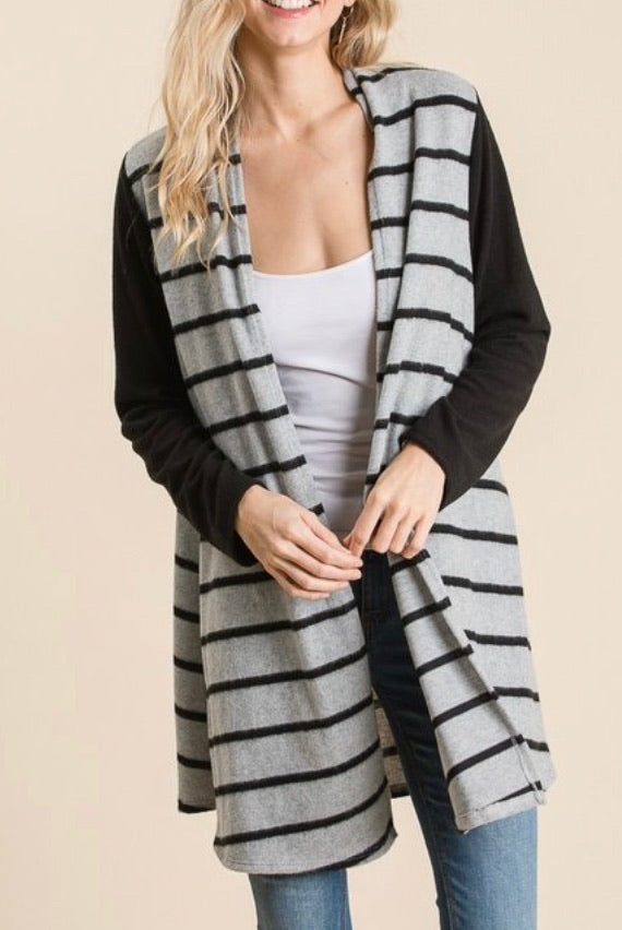 Colorblock Stripes Open Front Cardigan