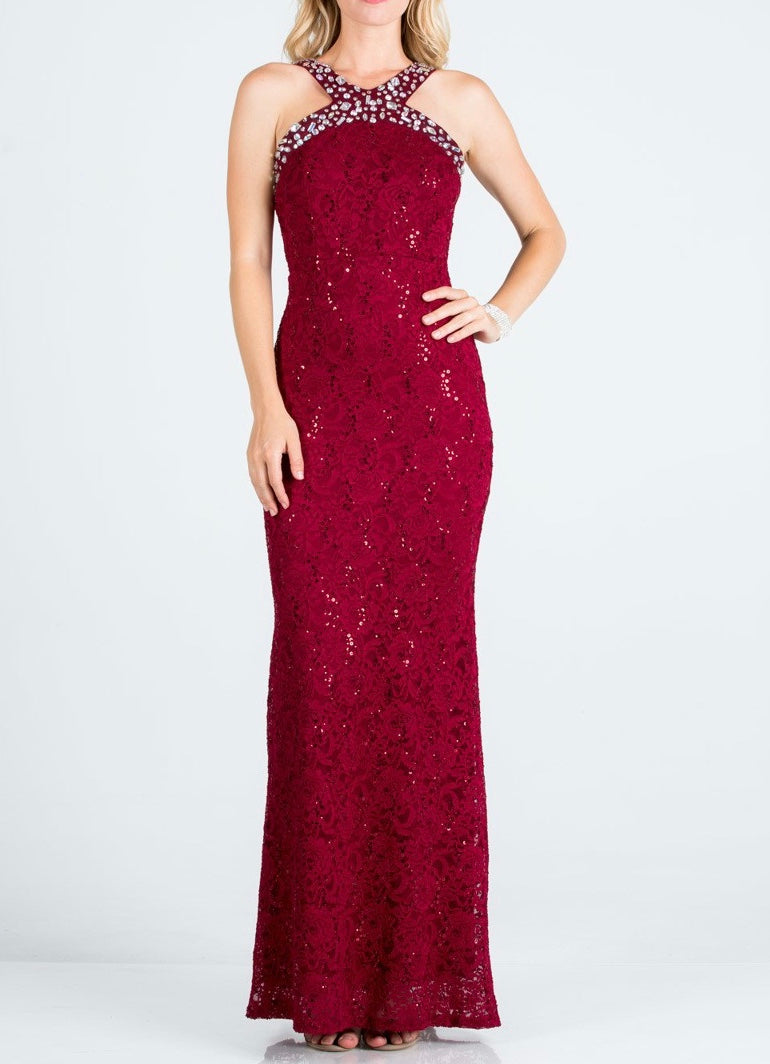 Embellished Y-Neck Formal Dress