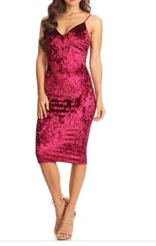 Bria Bella & Co - Crushed Velvet Sheath Midi