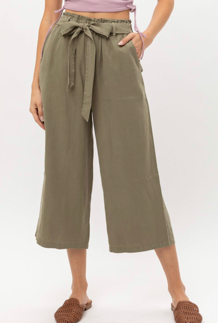 Olive Cropped Straight Leg Pants