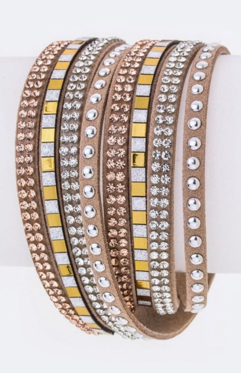Bria Bella & Co - Studded Leather Wrap Bracelet