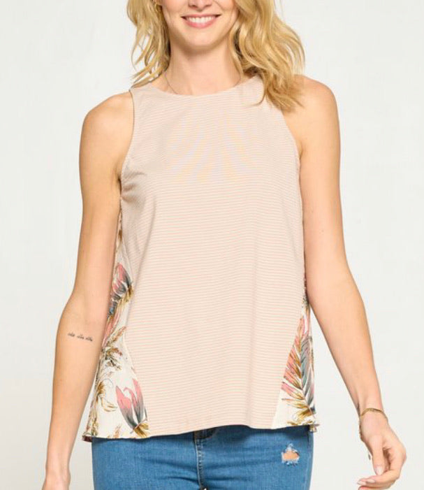 Printed Back Striped Tank