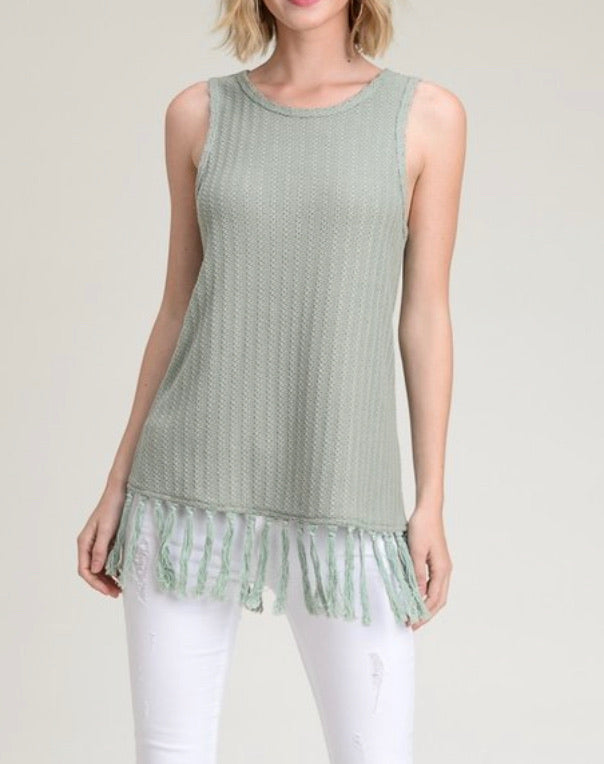 Fringe Sleeveless Sweater Tank