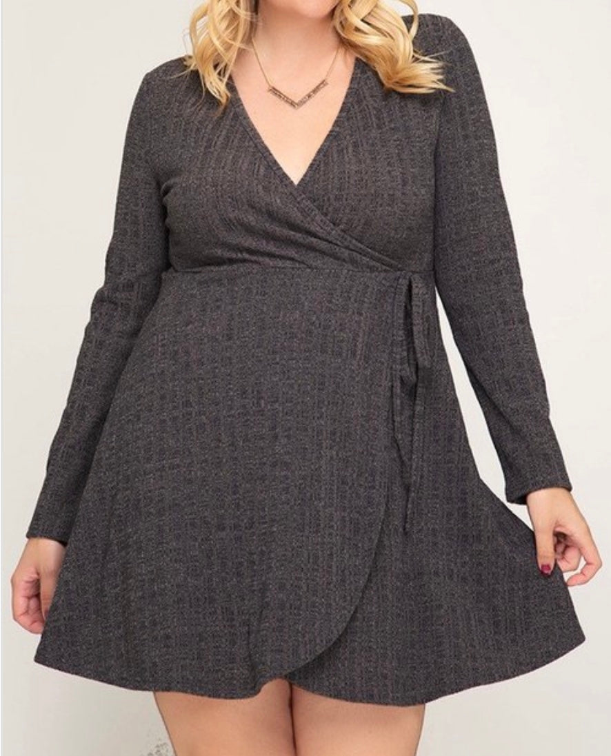 Surplice Charcoal Sweater Dress