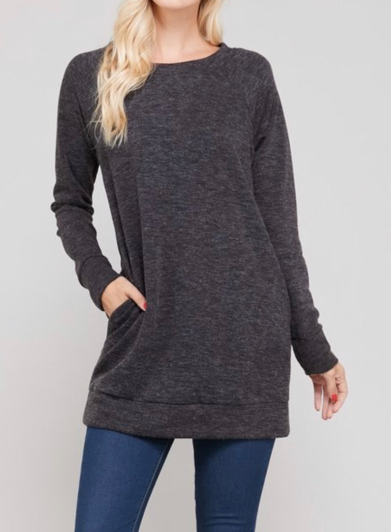 Bria Bella & Co - Charcoal Brushed Sweater