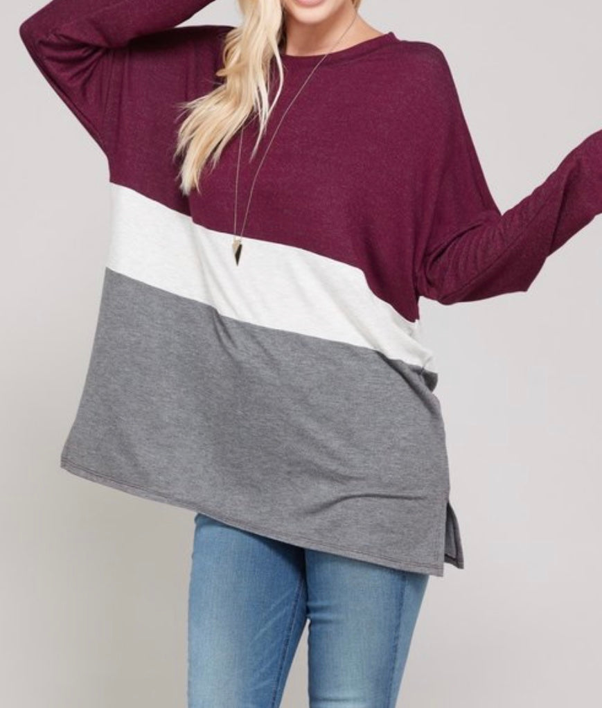 Bria Bella & Co - Burgundy & Charcoal Color Block Top