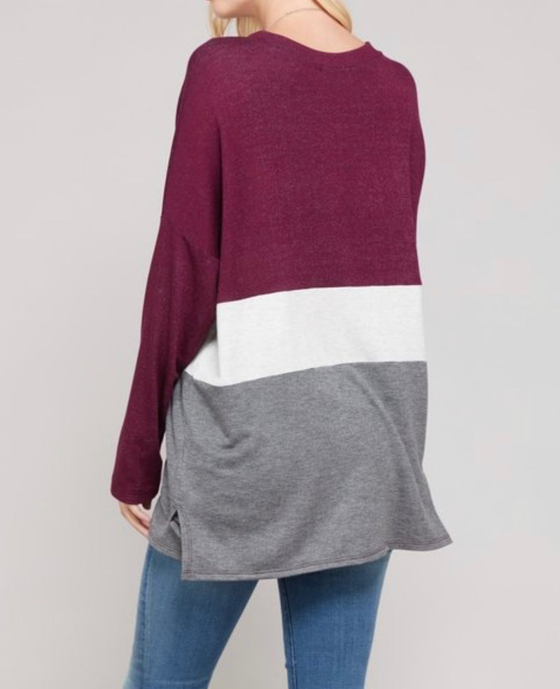 Bria Bella & Co - Burgundy & Charcoal Color Block Long Sleeve Tee