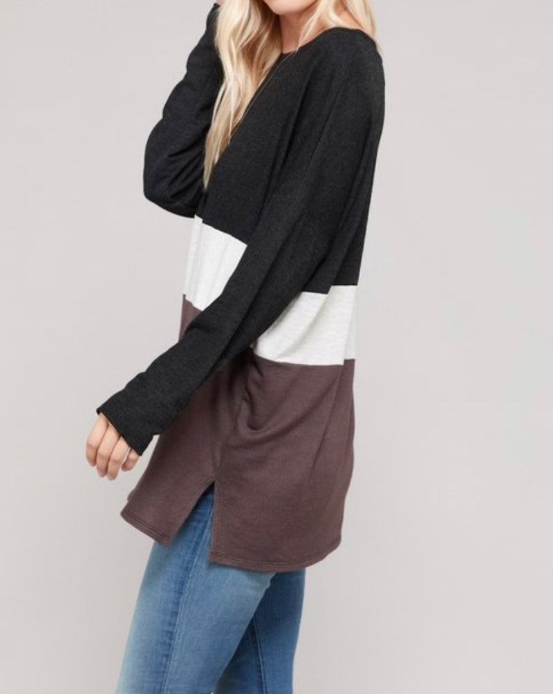 Bria Bella & Co - Black & Cocoa Color Block Top