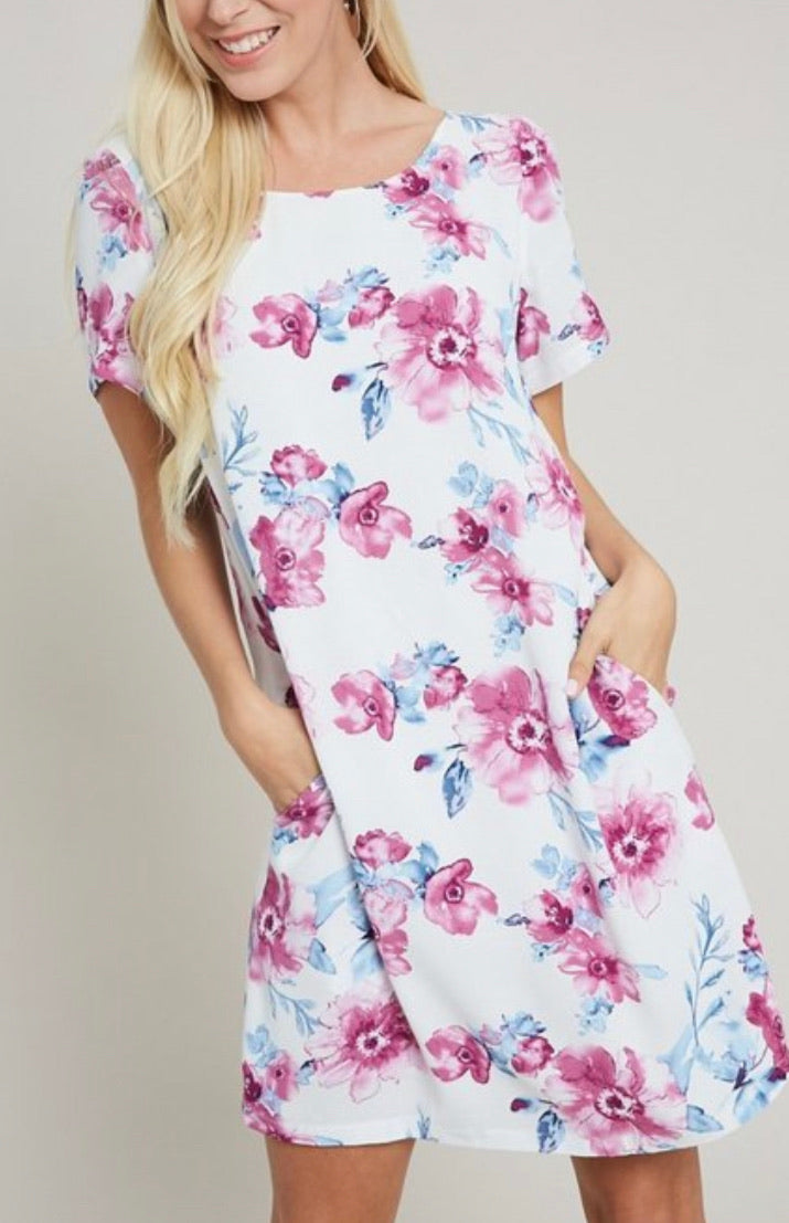 Bria Bella & Co - Floral Shift Dress with Pockets