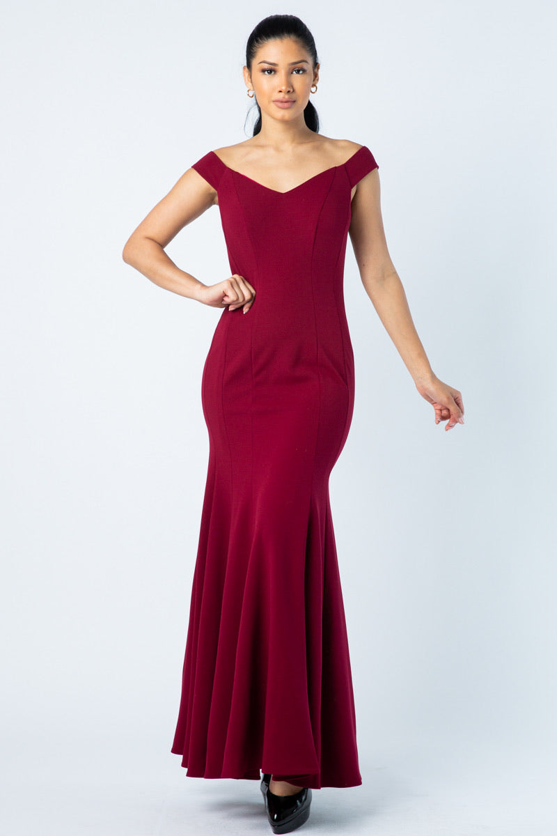 Off-Shoulder Trumpet Gown