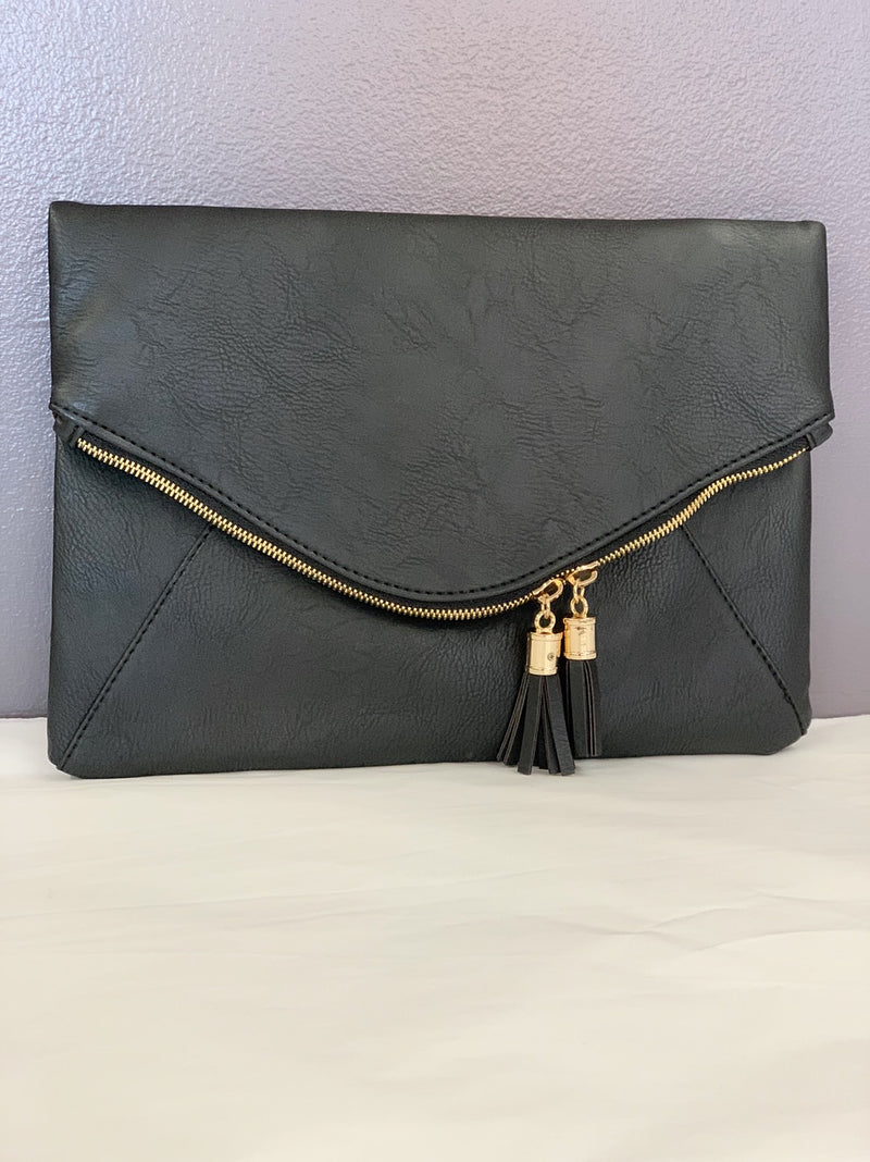 Bria Bella & Co - Black Envelope Clutch