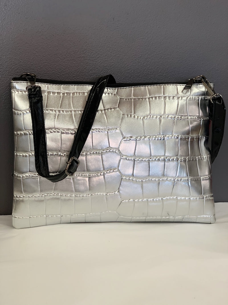 Metallic Silver Clutch/Crossbody