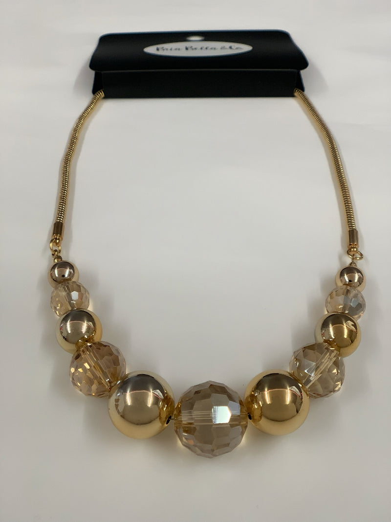 Golden Shimmer Spheres Necklace