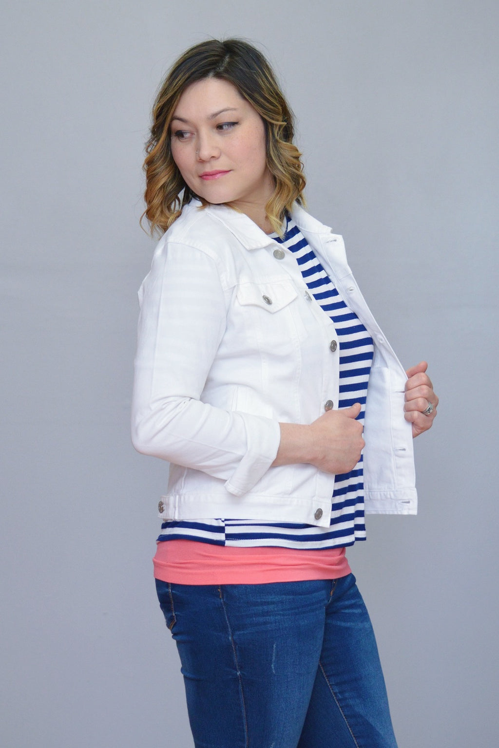 Bria Bella & Co - White Denim Jacket