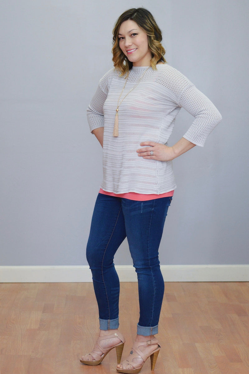 Bria Bella & Co - Lightweight Pointelle Sweater