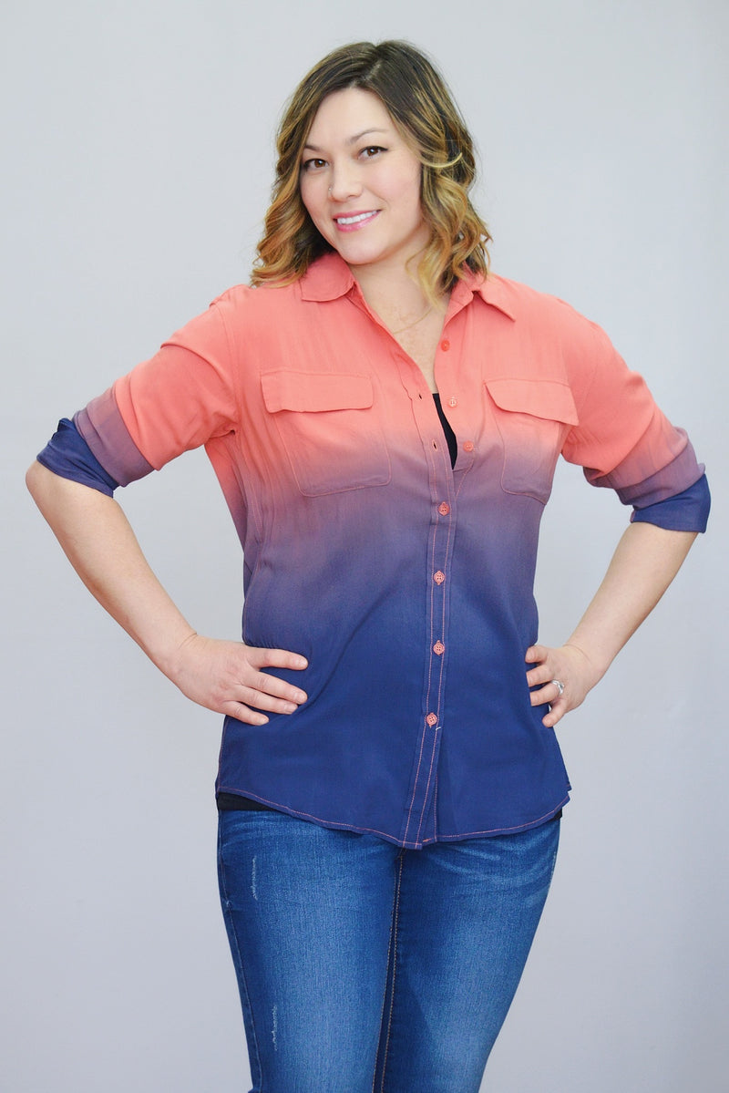 Ombre Button-Down Top