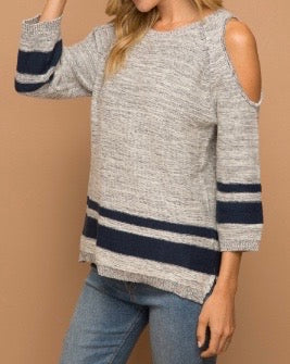 Bria Bella & Co - Striped Cold Shoulder Sweater
