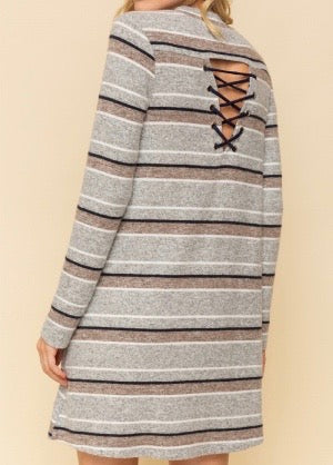 Bria Bella & Co - Laced Up Back Tunic Dress