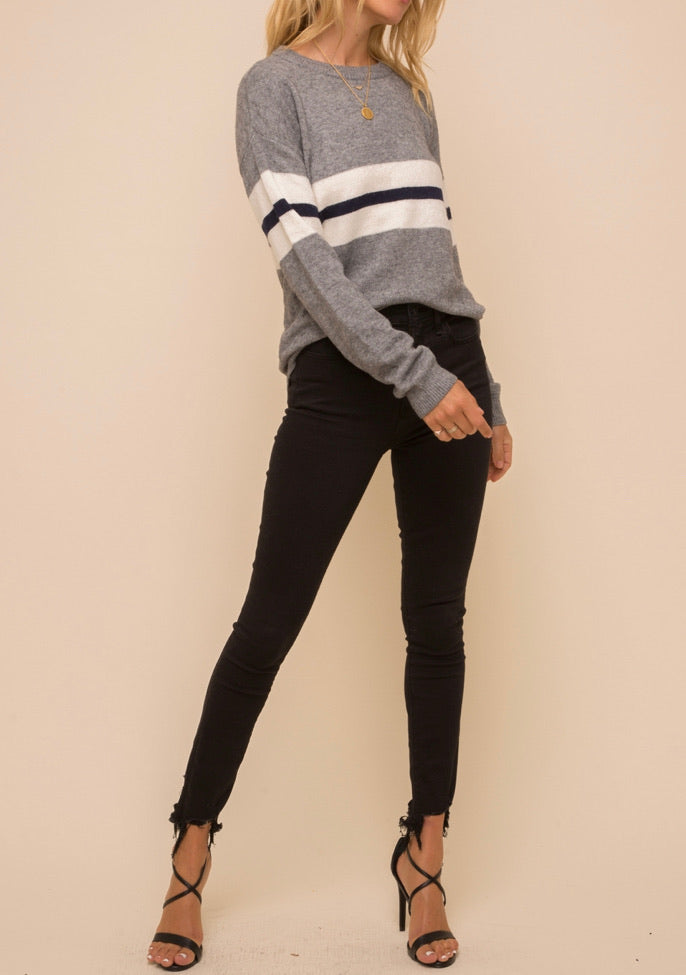 Striped Panel Pullover Sweater
