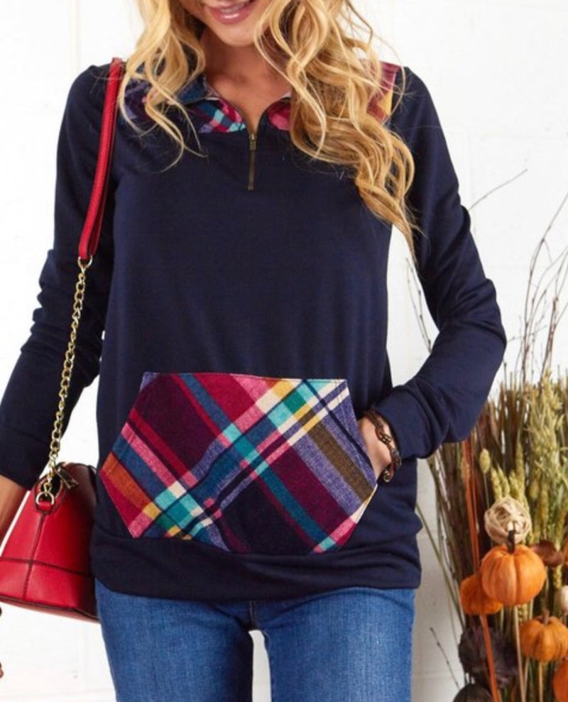 Bria Bella & Co - Navy & Plaid Quarter Zip