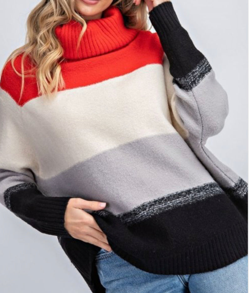 Bria Bella & Co - Color Block High Neck Sweater