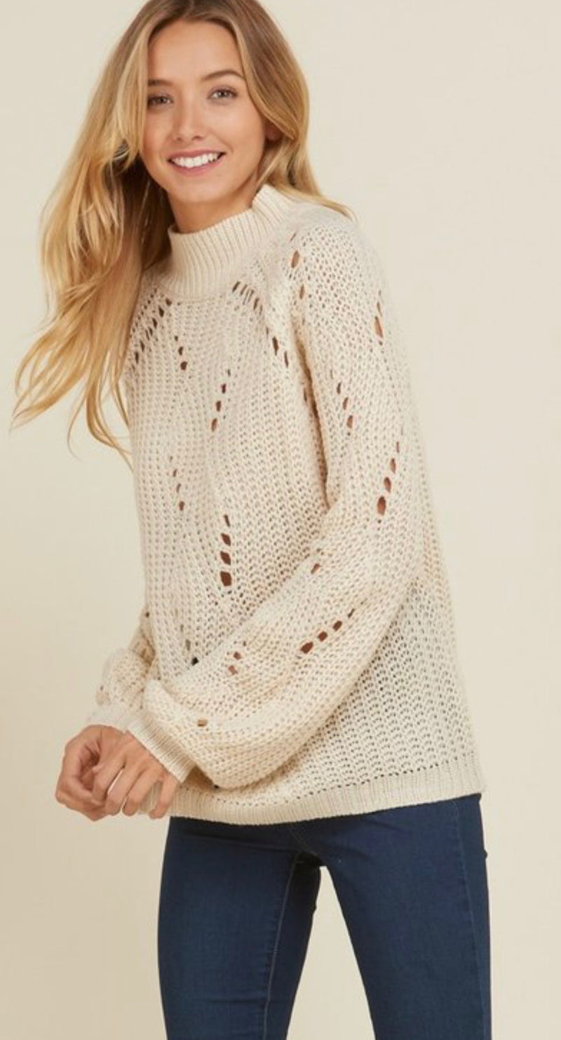 Bria Bella & Co - Beige Knitted Sweater