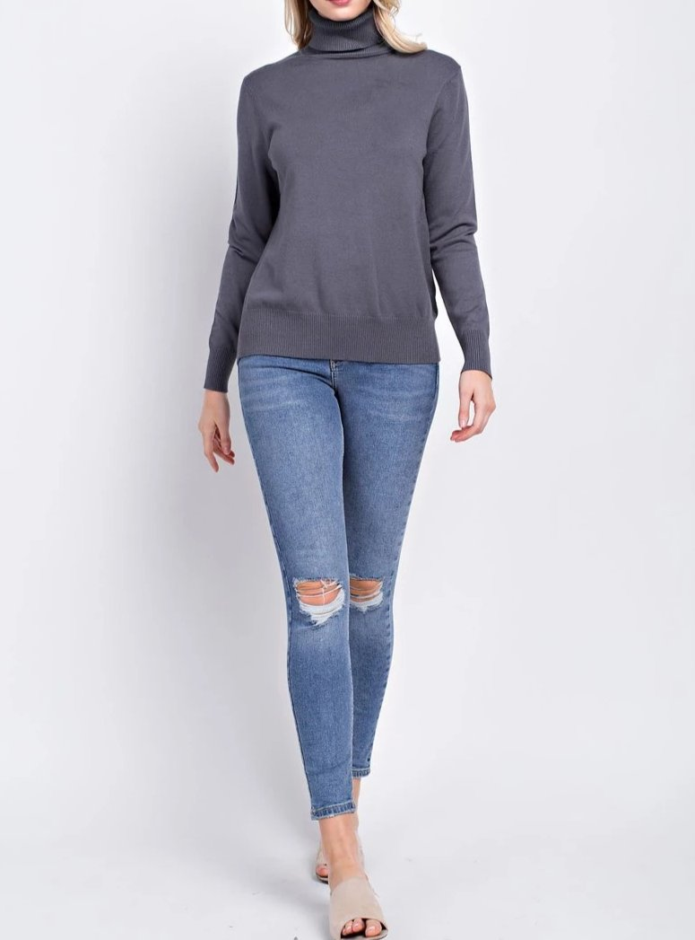 Heavy Knit High-Neck Sweater