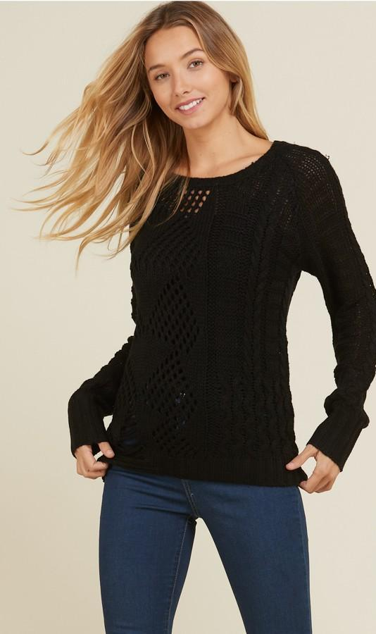Knit Mixed Pattern Sweater