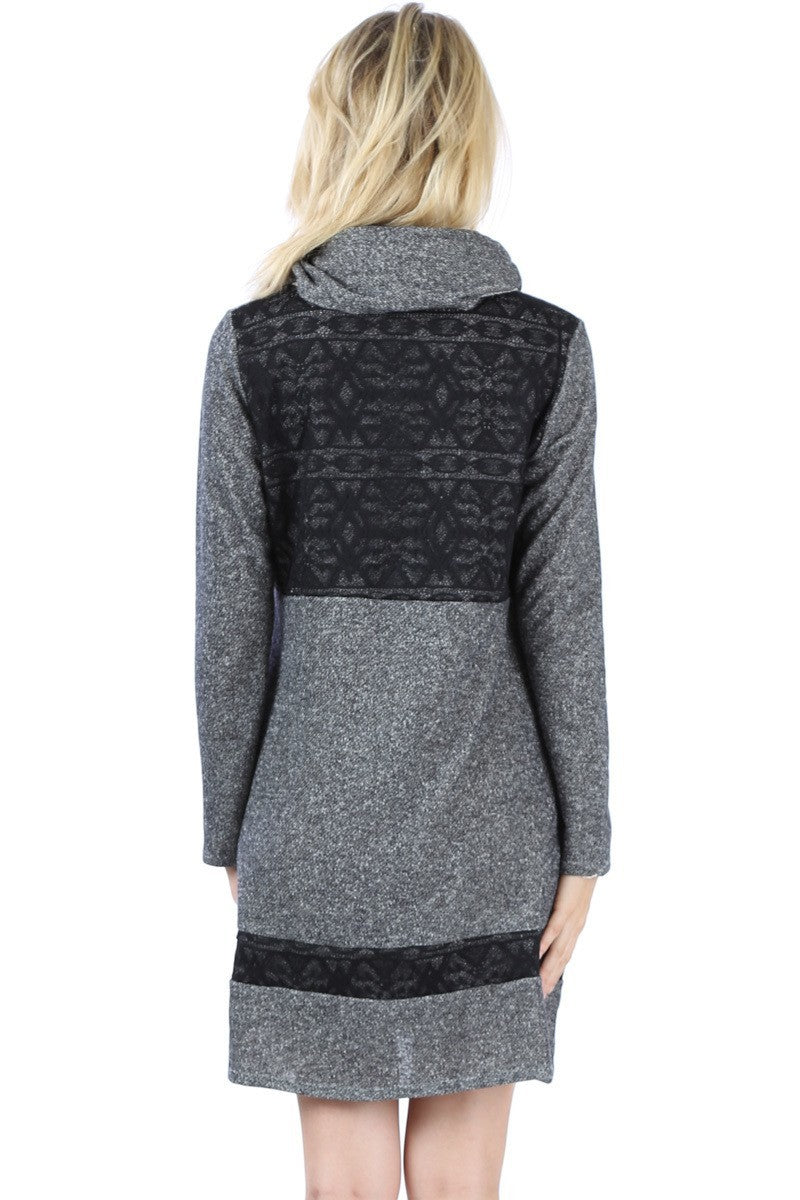 Lace Back Cowl Neck Tunic