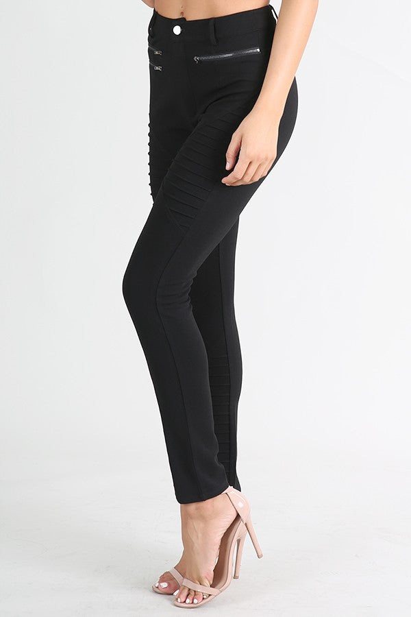 "Skinny Black ""Moto"" Dress Pants"