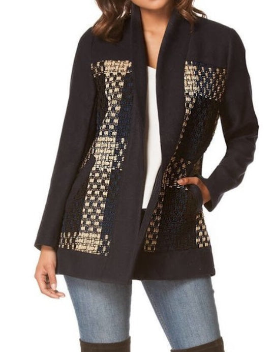 Bria Bella & Co - Checkered Navy Wool Open Front Jacket