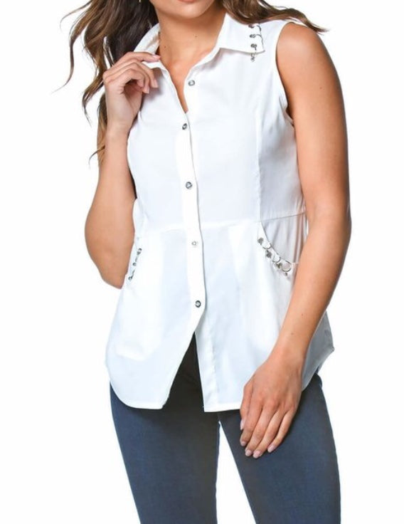 Bria Bella & Co - Ring Detail Button Down w/Pockets