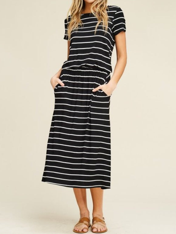 Striped Casual Midi Dress