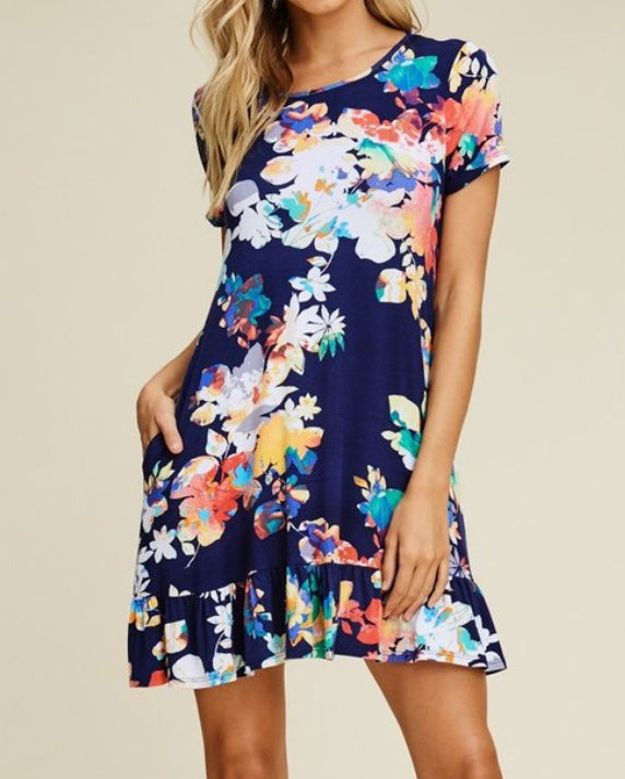 Summer Floral Ruffle Swing Dress