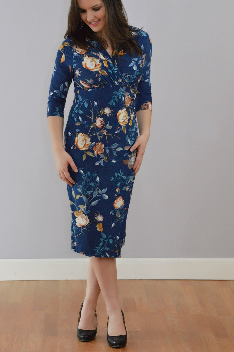 Navy Bodycon Midi Dress