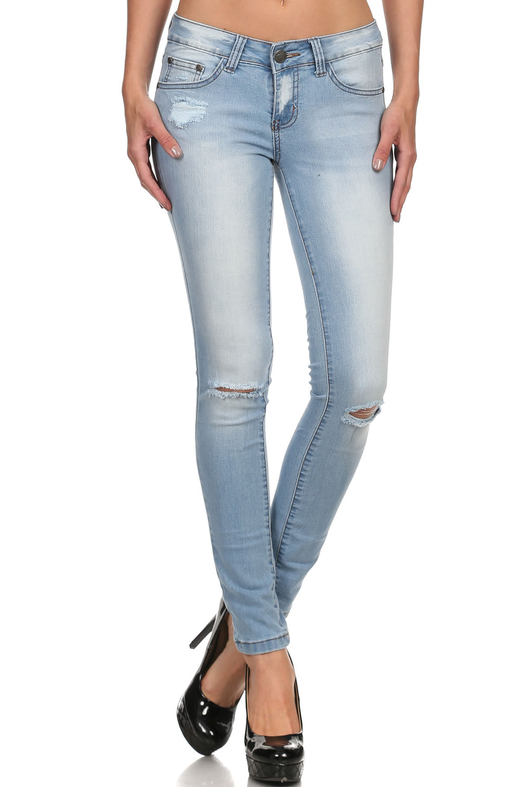 Bria Bella & Co - Distressed Light Wash Denim