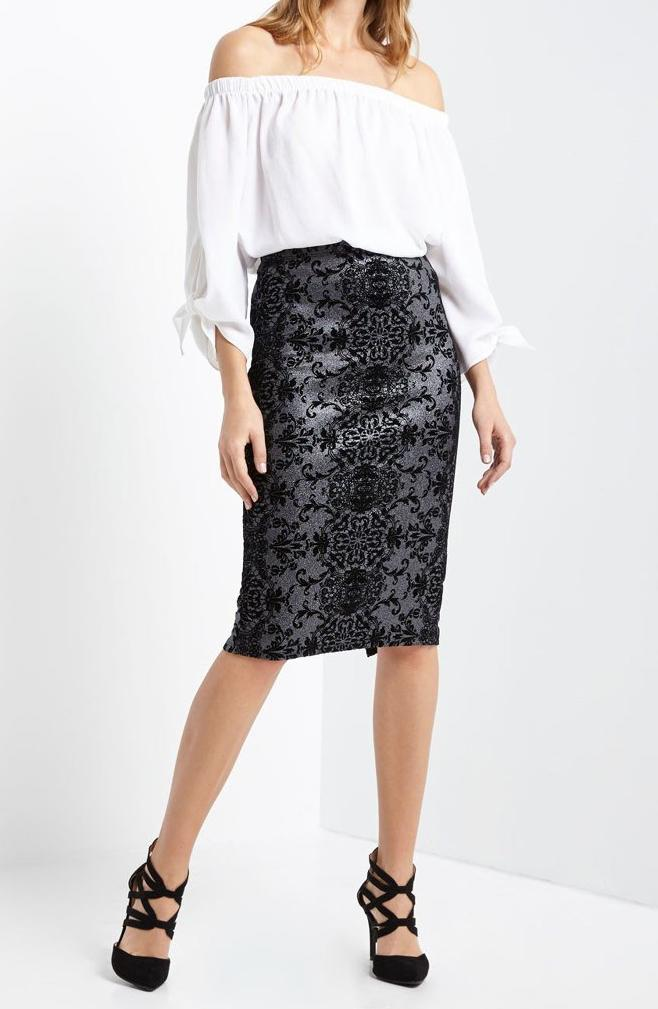 Bria Bella & Co - Flocked Print Glitter Pencil Midi Skirt