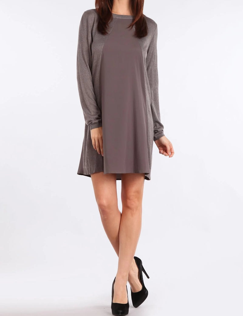 Bria Bella & Co - Chiffon Contrast Sweater Dress