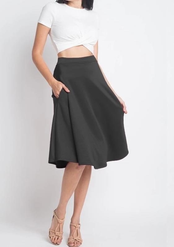 Bria Bella & Co - Black Fit 'n Flare Skirt