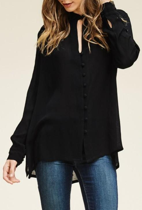 Bria Bella & Co - Black Button Keyhole Top