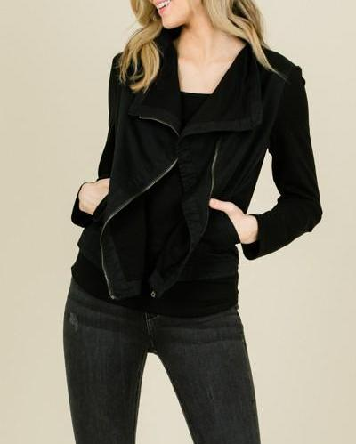 Bria Bella & Co - Black Asymmetrical Zip Jacket