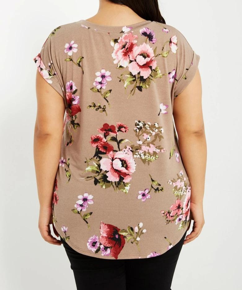 Bria Bella & Co - Coffee Floral Tee