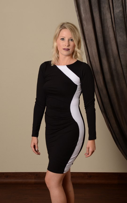 Black With White Stripe Bodycon Dress