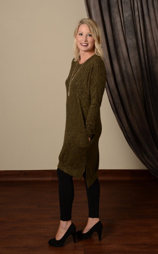 Brushed Sweater Tunic Dress - Olive